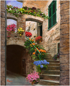 2118 assisi garden walk oil on canvas 24x30 $ 3200